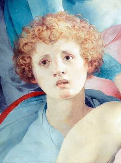 Stock Photo: 1788-42424 Face of a young man, detail of The Deposition, by Jacopo da Pontormo (1494-1557).