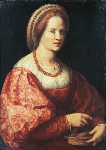 Stock Photo: 1788-42425 Lady with a Basket of Spindles, by Jacopo da Pontormo (1494-1557).