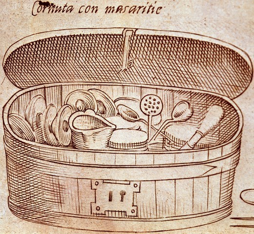 Utensils and kitchen accessories, 1570, by Bartolomeo Scappi (1500-1577), illustration from L'arte et prudenza d'un maestro Cuoco (The Art and Craft of a Master Cook). : Stock Photo