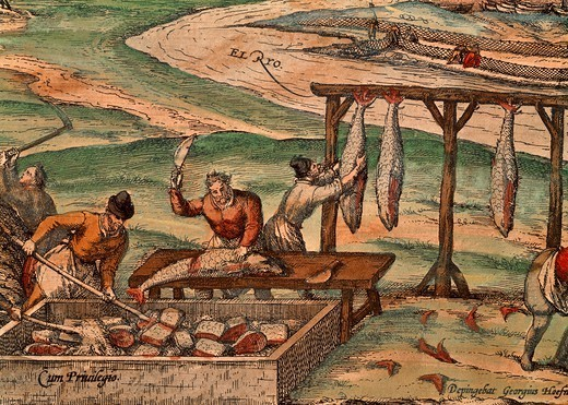 Tuna processing, 1572-1598, by Franz Hogenberg (ca 1540-ca 1590 ), a scene from Civitates Orbis Terrarum, by Georg Braun (1541-1622) and Franz Hogenberg (ca 1540-ca 1590). : Stock Photo