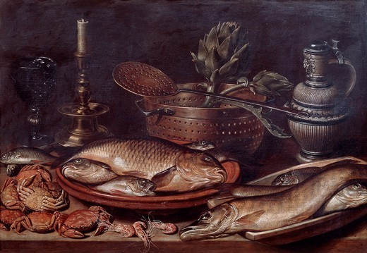 Stock Photo: 1788-42450 Still life showing fishes and shellfishes, 1611, by Clara Peeters (ca 1594-pre 1657), oil on panel, 50x72 cm.