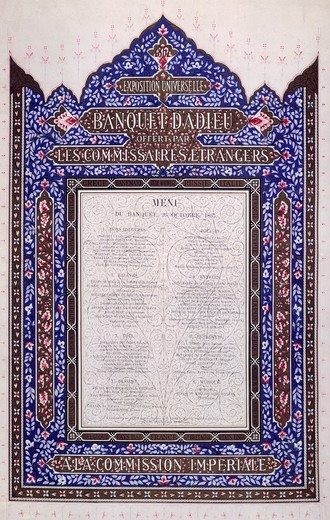 Stock Photo: 1788-42461 French menu for a farewell banquet in honor of foreign commissioners, 1867.