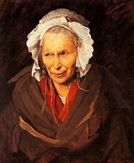 Stock Photo: 1788-42502 Mad woman with a mania of envy, by Jean-Louis Theodore Gericault (1791-1824).