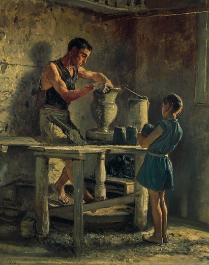 The potters, 1873, by Filippo Palizzi (1818-1899). : Stock Photo