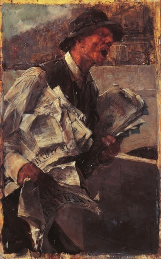 Stock Photo: 1788-42506 The Parisan newsboy or The newsvendor, 1878, by Giovanni Boldini (1842-1931), oil on canvas, 47x29 cm.