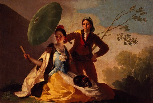 The Parasol, 1777, by Francisco de Goya (1746-1828), oil on canvas, 152x104 cm. : Stock Photo
