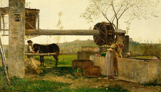 The pumping machine, 1863, by Silvestro Lega (1826-1895), oil on canvas, 44.5x78.2 cm : Stock Photo