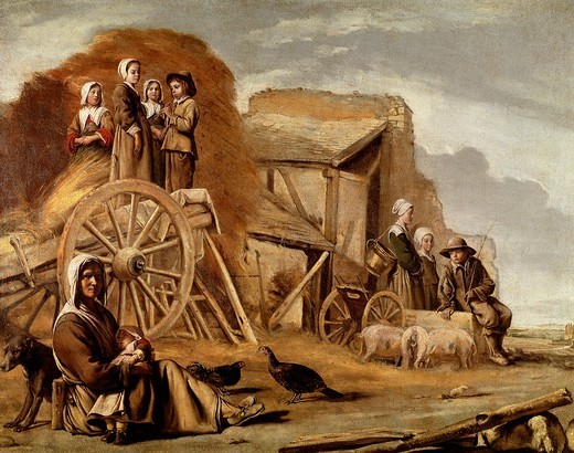 The Cart or Return from Haymaking, 1641, by Louis Le Nain (1593-1648) or Antoine Le Nain (1599-1648), oil on canvas, 56x72 cm. : Stock Photo