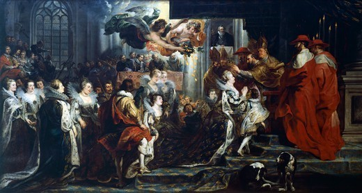 The Apotheosis of Henry IV and the Proclamation of the Regency of Marie de' Medici, May 14, 1610, 1621-1625, by Peter Paul Rubens (1577-1640), oil on canvas, 394x727 cm. Detail from the Stories of Queen Maria de Medici, 24 boards on canvas created for the Luxembourg Palace, Paris. : Stock Photo