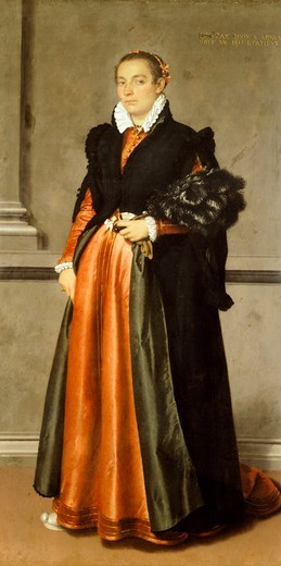 Portrait of a noblewoman Pace Rivola Spini, 1570, by Giovanni Battista Moroni (ca 1525-1578), oil on canvas, 98x197 cm. : Stock Photo