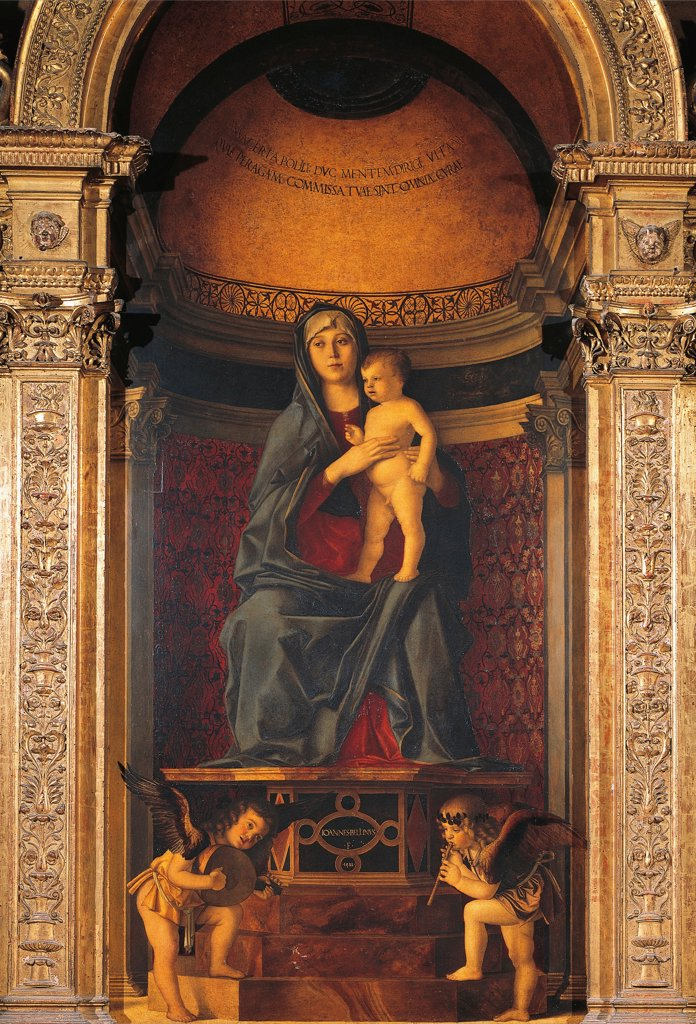 Madonna Enthroned, by Giovanni Bellini, known as Giambellino (ca 1430-1516). Santa Maria Gloriosa dei Frari, Venice. : Stock Photo