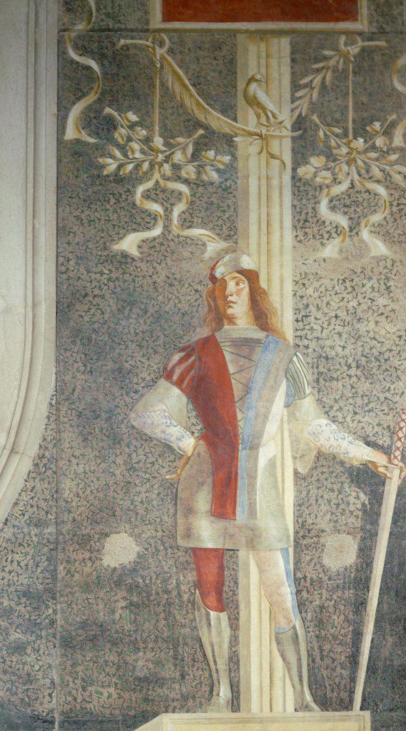 Stock Photo: 1788-42797 Senator Augustine Onigo's tombstone, by Lorenzo Lotto (ca 1480-1556). Detail of the figure of a page. Church of San Nicolo, Treviso.