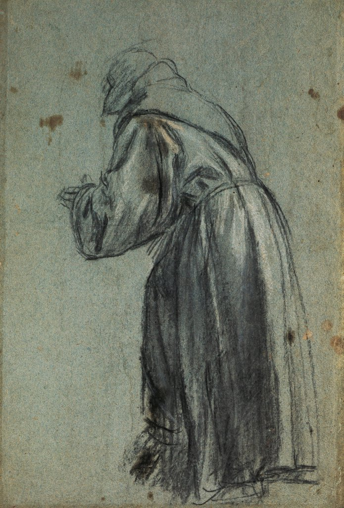 Stock Photo: 1788-42830 Study for a representation of St Francis, by Titian (ca 1490-1576), charcoal drawing.