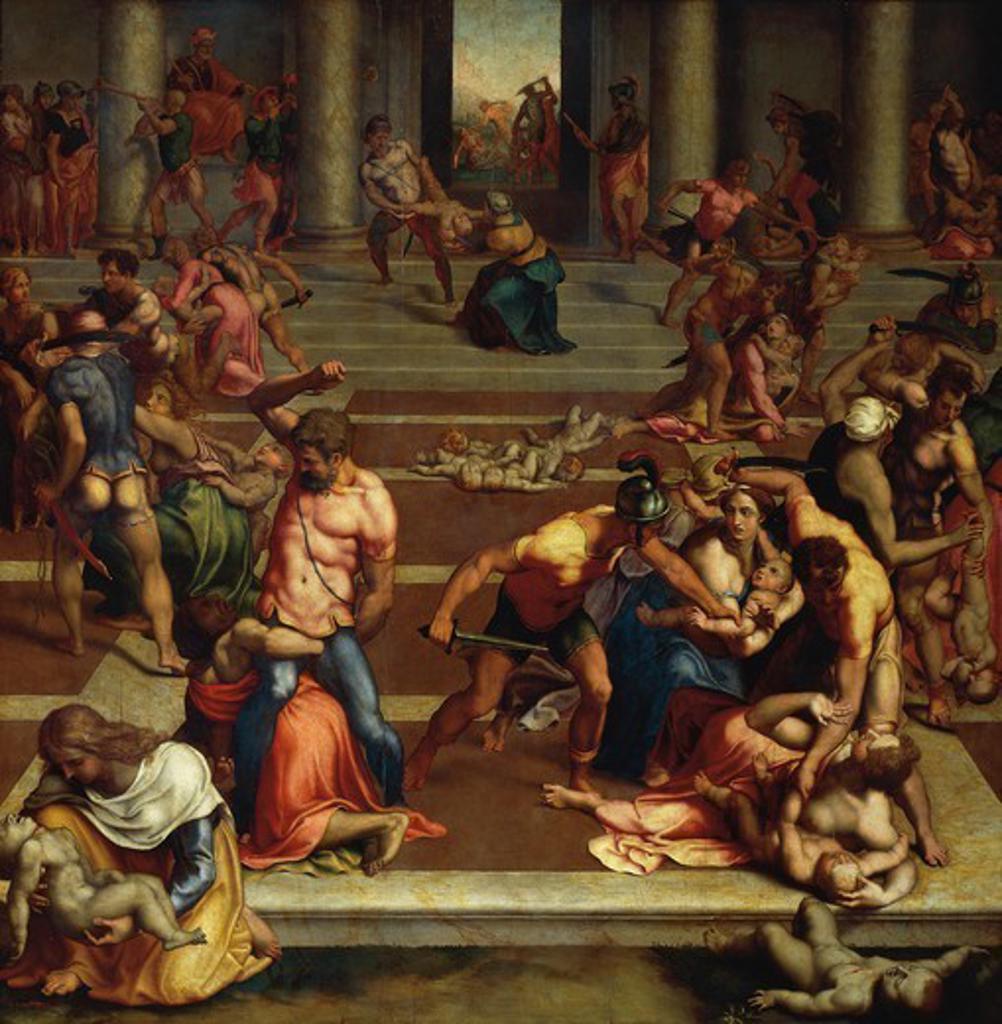 Massacre of the Innocents, 1557, by Daniele da Volterra (1509-ca 1566), oil on canvas, 147x142 cm. : Stock Photo