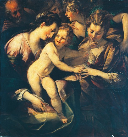 Mystic marriage of St Catherine, 1610-1620, by Giulio Cesare Procaccini (1574-1625), oil on canvas, 155x135 cm. : Stock Photo