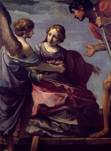 The martyrdom of St Dorothy, by Alessandro Tiarini (1577-1668), oil on canvas, 150x113 cm. : Stock Photo