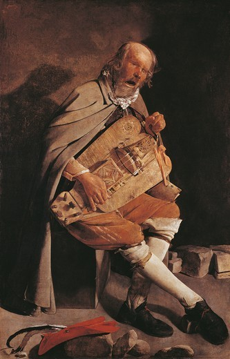 The Hurdy-gurdy player with hat, by Georges de La Tour (1593-1652), oil on canvas, 162x105 cm. : Stock Photo