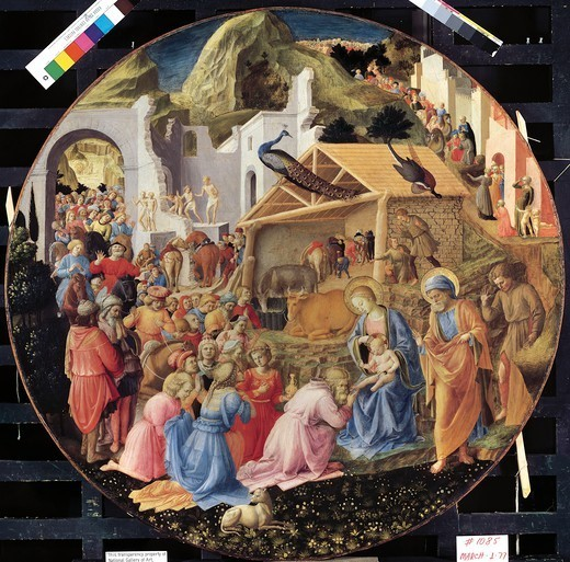 Stock Photo: 1788-42894 Adoration of the Magi or Tondo Cook, 1445-1455, by Giovanni da Fiesole, known as Fra Angelico (1400-ca 1455), finished by Filippo Lippi (1406-ca 1469), tempera on wood, diameter 137.2 cm.