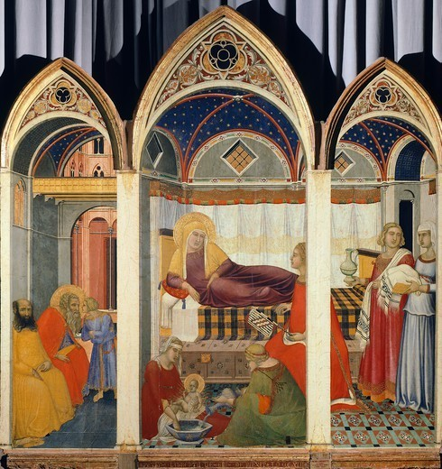 Stock Photo: 1788-42901 Nativity of the Virgin, by Pietro Lorenzetti (ca 1280-ca 1348).