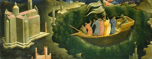 Stock Photo: 1788-42903 Predella showing St Nicholas who saves the shipwrecked, by Lorenzo Monaco (ca 1370-1423).