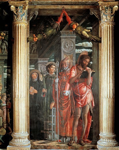 Saints John and Lorenzo and two Saints, detail from San Zeno Altarpiece, 1456-1460, by Andrea Mantegna (1431-1506), wood, 220x115 cm.  Basilica of San Zeno, Verona. : Stock Photo