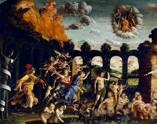 Stock Photo: 1788-42916 Triumph of Virtue or Pallas Expelling the Vices from the Garden of Virtue, 1502, by Andrea Mantegna (1431-1506), tempera on canvas, 160x192 cm.