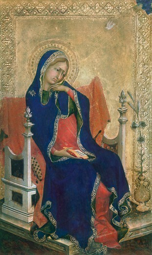 The Annunciated Virgin, panel from the Altarpiece of the Passion or Orsini polyptych by Simone Martini (1284-1344), tempera and gold on wood panel, 29x21 cm. : Stock Photo