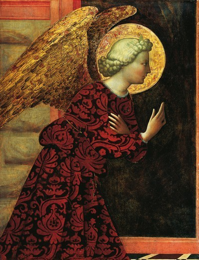 The archangel Gabriel, ca 1430, by Masolino (ca 1383-1447), tempera on panel, 76.6x57.8 cm. : Stock Photo