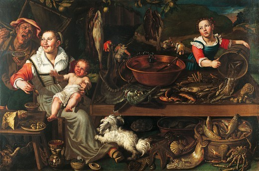 Stock Photo: 1788-42931 The fishmonger, ca 1580, by Vincenzo Campi (ca 1530-1591), oil on canvas, 143x213 cm.