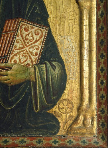 The Redeemer with the Madonna and Saints, by Meliore Toscano or Meliore di Jacopo (ca 1255-1285), tempera and gold on panel, 85x210 cm. Detail. : Stock Photo