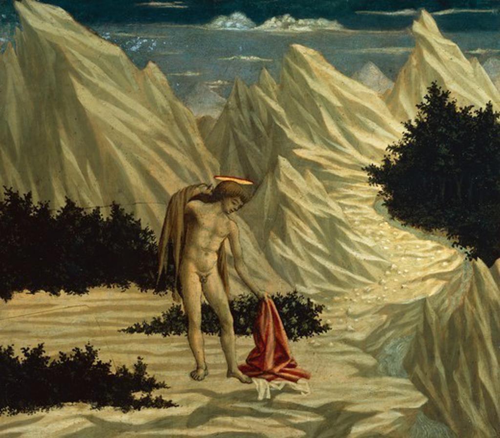St John the Baptist in the desert, detail from the predella of the Santa Lucia de' Magnoli (St Lucy) Altarpiece, 1445-1450, by Domenico Veneziano (ca 1400-1461), tempera on panel, 28.4x31.8 cm. : Stock Photo