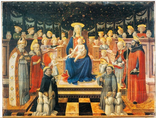 Madonna with enthroned Child, angels, Saints and donors, by Giovanni Boccati (active 1420-1480). : Stock Photo