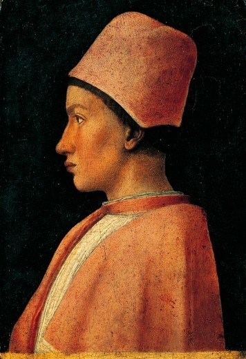 Portrait of Francesco Gonzaga, 1460-1462, by Andrea Mantegna (1431-1506). Tempera on wood, 25.5x18 cm. : Stock Photo