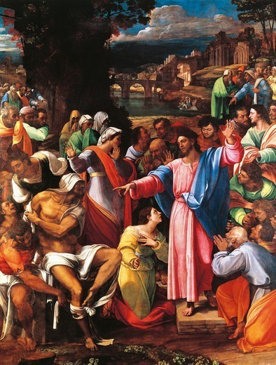 Stock Photo: 1788-43021 The raising of Lazarus, 1517-1519, by Sebastiano del Piombo (ca 1485-1547), oil on canvas transferred onto panel, 381x289.6 cm.