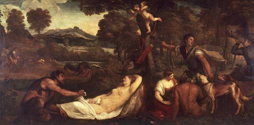 Stock Photo: 1788-43050 Pardo Venus (or Jupiter and Antiope), 1535-1540, by Titian (ca 1490-1576), oil on canvas, 196x285 cm.