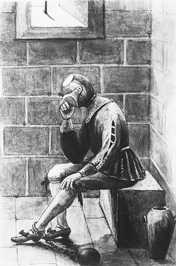 Stock Photo: 1788-4326 France, 17th Century, The man in the Iron Mask in prison, Print