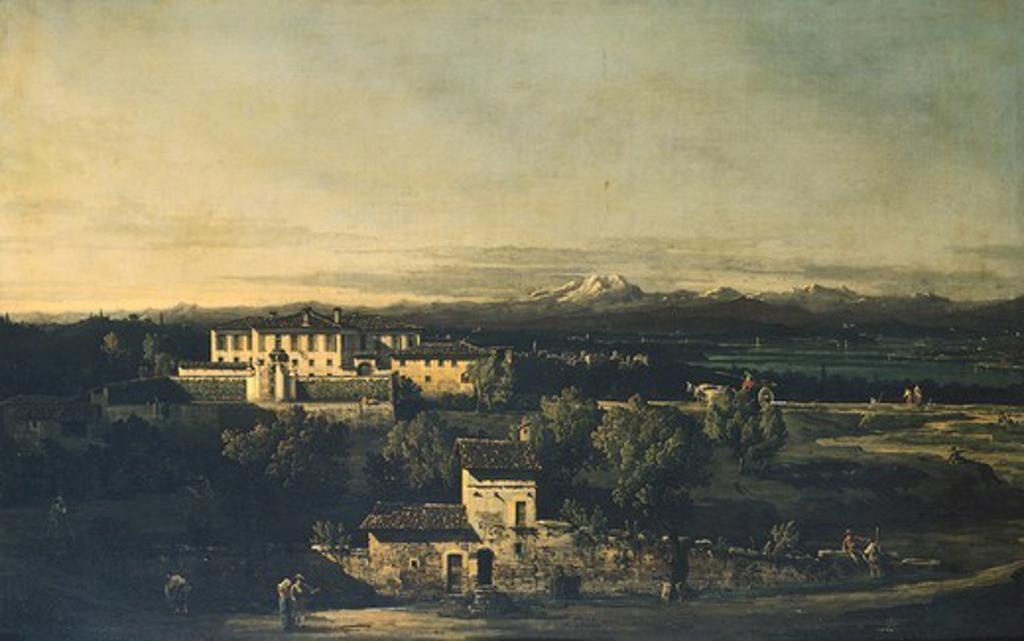 Gazzada, Villa Melzi, 1744, by Bernardo Bellotto, known as Canaletto (1721-1780), oil on canvas, 65x100 cm. : Stock Photo