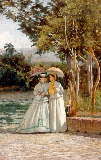 Stock Photo: 1788-43267 Walking in the garden, 1864-1866, by Silvestro Lega (1826-1895), oil on canvas, 35x22.5 cm.