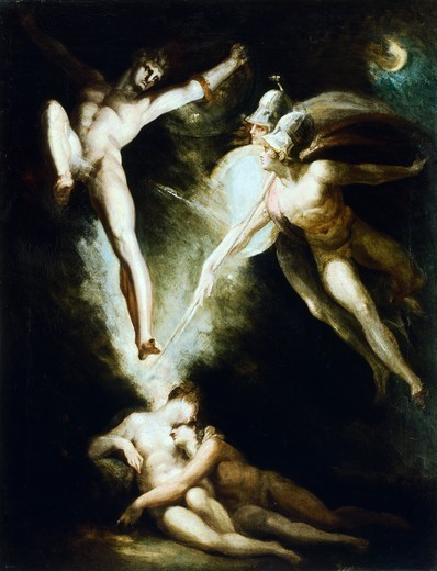 Stock Photo: 1788-43282 Satan touched by Ithuriel's sword, by Johann Heinrich Fussli (1741-1825).