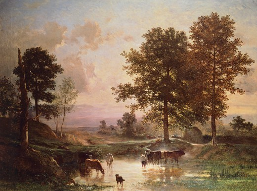 Stock Photo: 1788-43309 The Watering, 1850-1855, by Constant Troyon (1810-1865), oil on canvas, 122x162 cm.