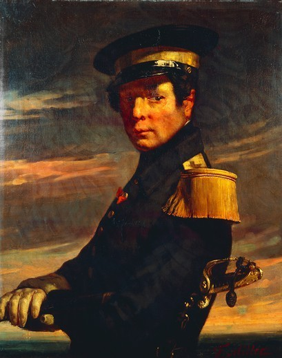 Stock Photo: 1788-43315 Portrait of a naval officer, 1845, by Jean-Francois Millet (1814-1875), oil on canvas, 81x65 cm.