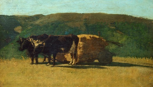 Black oxen pulling a wagon, by Raffaello Sernesi (1838-1866). : Stock Photo