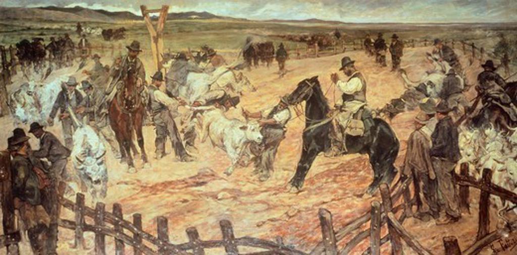 Marking the young bulls in Maremma, 1889-1891, by Giovanni Fattori (1825-1908), oil on canvas, 88.5 cm x175. : Stock Photo