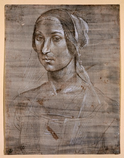 Stock Photo: 1788-43376 Head of a Woman, by Domenico Ghirlandaio (1449-1494), drawing.