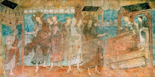 Stock Photo: 1788-43379 A miracle of Jesus, scene from the cycle of the Miracles of Jesus Christ, 10th-11th century fresco. St George's Church (UNESCO World Heritage, 2000), Reichenau, Germany.