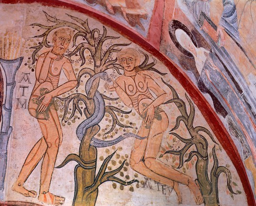 The original sin, by the Master of Maderuelo (active ca 1123-1125). : Stock Photo