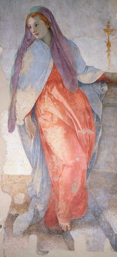 Stock Photo: 1788-43395 The Annunciation, by Giacomo Carucci known as il Pontormo (1494-1557), fresco. Detail. Capponi Chapel, Church of Santa Felicita, Florence.