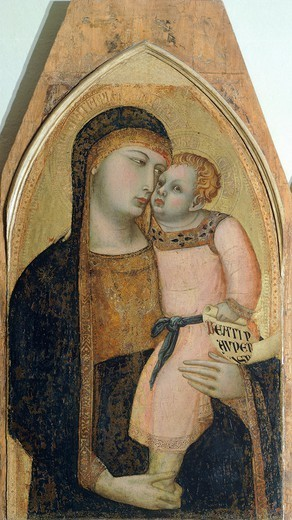 Stock Photo: 1788-43402 Madonna and Child, detail from the Triptych depicting the Madonna and Child with Mary Magdalene and St Dorothea, by Ambrogio Lorenzetti (1290-ca 1348), oil on wood.