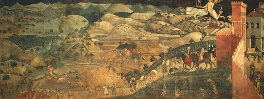 The effects of good governance in the country, detail from the Allegory and effects of good and bad government in town and country, 1337-1343, by Ambrogio Lorenzetti (active 1285-1348), fresco. Hall of Peace, Palazzo Publico, Siena. : Stock Photo