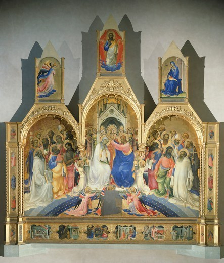 Coronation of the Virgin, 1414, by Lorenzo Monaco (ca 1370-1425), tempera on panel, 450x350 cm. Polyptych for the high altar of the Camaldolese monastery of Santa Maria degli Angeli (St Mary of the Angels), Florence. : Stock Photo